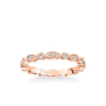 ArtCarved Stackable Eternity Band with Diamond and Milgrain Multi-Shape Alternating Design in 14k Rose Gold