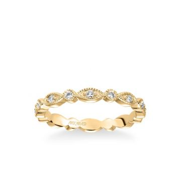 ArtCarved Stackable Eternity Band with Diamond and Milgrain Multi-Shape Alternating Design in 18k Yellow Gold