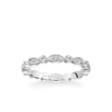 ArtCarved Platinum Stackable Band with Diamond and Milgrain Floral Design