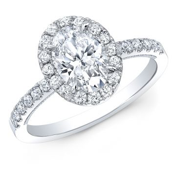 14K White Gold 1.0ct Oval Center Diamond Halo Engagement Ring