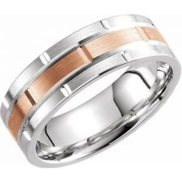 14K White & Rose 7 mm Grooved Band  Size 7