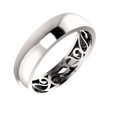 Platinum Paisley Design Men's Wedding Band