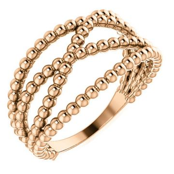 14k Rose Gold Beaded Fashion Ring