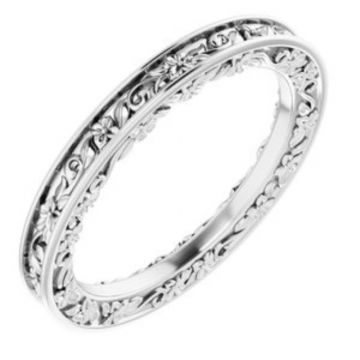 Platinum 2.5 mm Floral-Inspired Band Size 7
