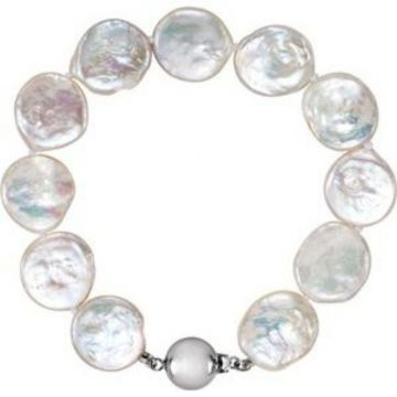 """Sterling Silver White Freshwater Cultured Coin Pearl 7.75"""" Bracelet"""