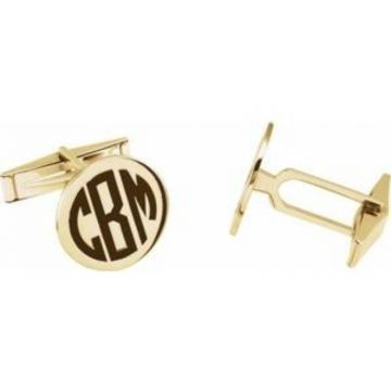 14K Yellow Engravable Cuff Links