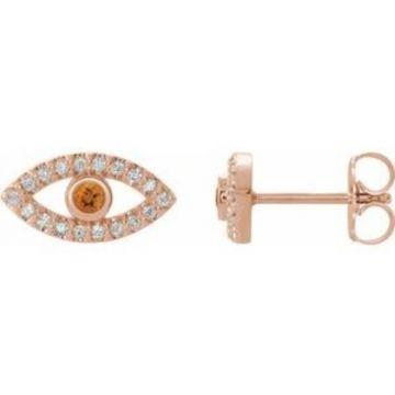 14K Rose Citrine & White Sapphire Earrings