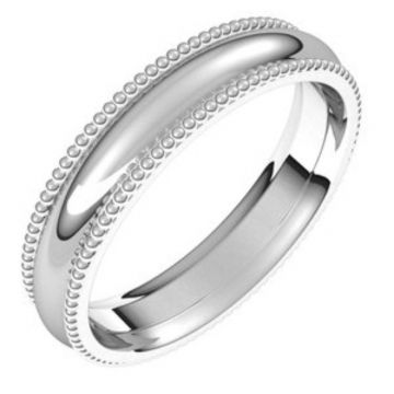 Platinum 4 mm Beaded Comfort-Fit Band Size 7