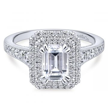 Gabriel & Co. 14k White Gold Entwined Double Halo Diamond Engagement Ring