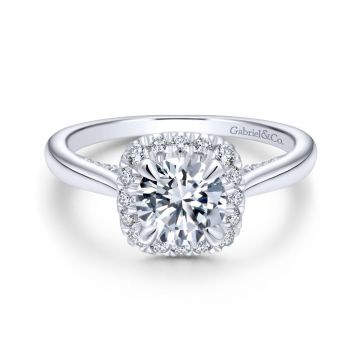 Gabriel & Co. 14k White Gold Entwined Halo Diamond Engagement Ring