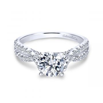 Gabriel & Co. 14k White Gold Contemporary Criss Cross Diamond Engagement Ring