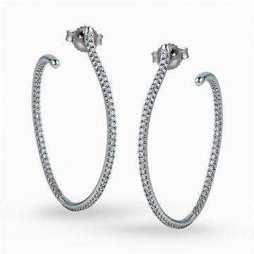 Simon G. 18k White Gold Diamond Hoop Earrings