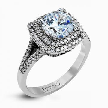 Simon G. 18k White Gold Diamond Engagement Ring
