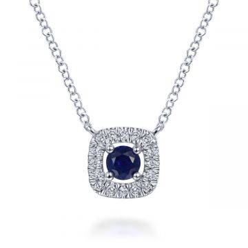 Gabriel & Co. 14K White Gold Lusso Color Diamond & Gemstone Necklace