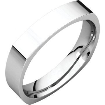 14k White Gold Square Comfort Fit Wedding Band
