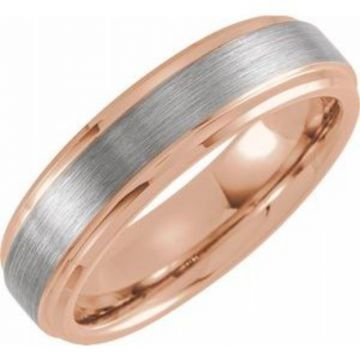 18K Rose Gold PVD Tungsten 6 mm Beveled-Edge Band Size 7 with Satin Finish