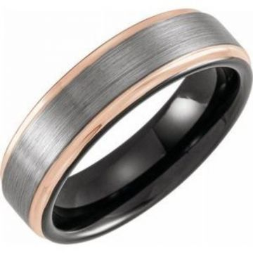 Black & 18K Rose Gold PVD Tungsten 6 mm Grooved Band Size 7 with Satin Finish