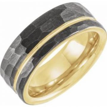 Black & 18K Yellow Gold PVD Tungsten 8 mm Grooved Size 7 Band With Hammer Finish
