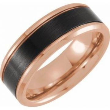 Black & 18K Rose Gold PVD Tungsten 8 mm Beveled-Edge Size 7 Band with Satin Finish