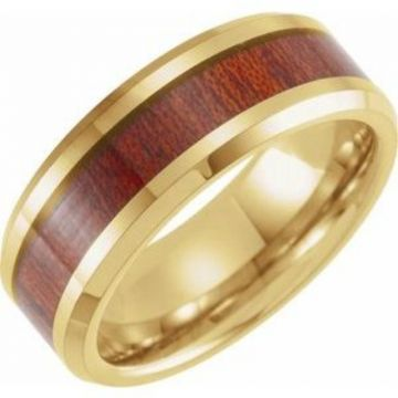 Tungsten 8 mm Beveled-Edge Band Size 7 with Walnut Wood Inlay