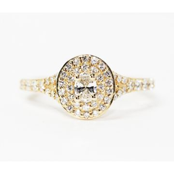 14K Yellow Gold Oval Diamond Double Halo Engagement Ring