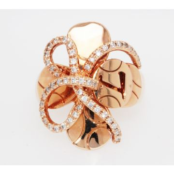 Estate 14K Rose Gold Freeform Design Diamond Ring