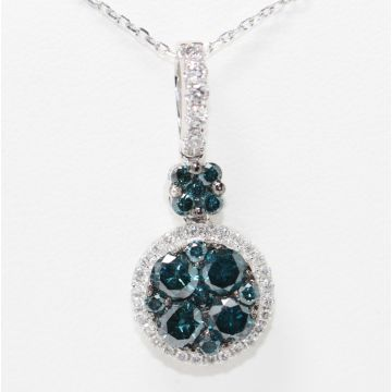 Estate 14K White Gold White and Irradiated Blue Diamond Pendant Necklace, 17""