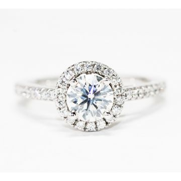 14K White Gold 0.92ct Round Center/1.21ctw Diamond Halo Engagement Ring