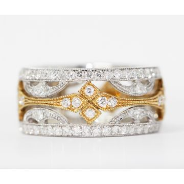 Estate 18K White and Yellow Gold Cut Out Design Diamond Band