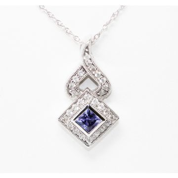 Estate 14K White Gold Square Tanzanite Diamond Halo Pendant Necklace, 16""