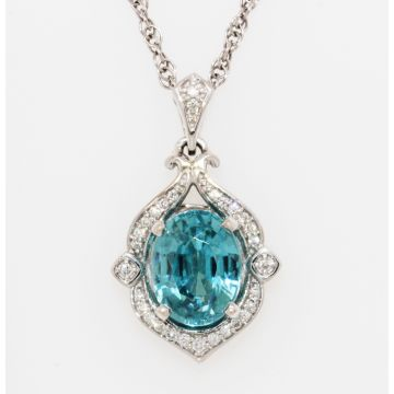 Estate 18K/14K White Gold Oval Blue Zircon Diamond Halo Pendant Necklace, 18""