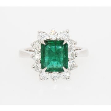 Estate 14K White Gold Emerald Cut Emerald Diamond Halo Ring