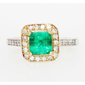 Estate 14K Yellow/White Gold Emerald Cut Emerald Diamond Halo Ring