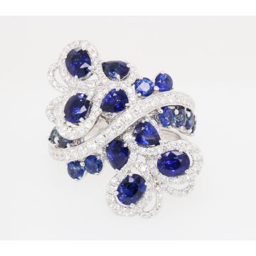 Estate 18K White Gold Multishape Blue Sapphire Diamond Swirl Ring
