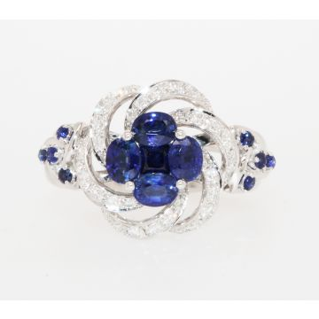 Estate 18K White Gold Blue Sapphire Diamond Cluster Ring