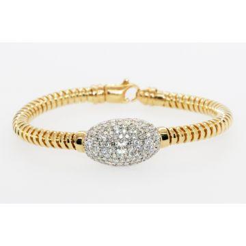Estate 18K Yellow/White Gold Flexible Diamond Cuff Bracelet