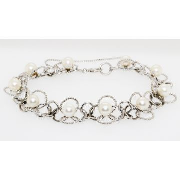 Estate 14K White Gold Cultured Pearl Bracelet, 7""