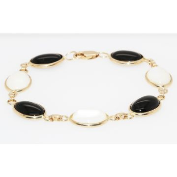 """Estate 14K Yellow Gold Black Onyx and Mother of Pearl Bracelet, 7.5"""""""
