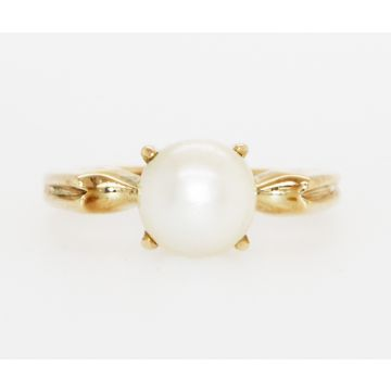 Estate 14K Yellow Gold Cultured Pearl Solitaire Ring