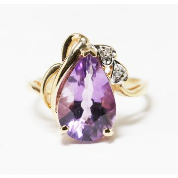Pear shape amethyst with  baguette accent engagement ring 14K yellow gold wedding ring #4607