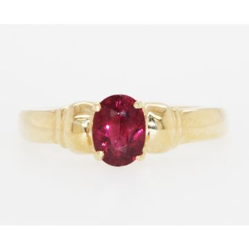 Estate 14K Yellow Gold Oval Pink Tourmaline Solitaire Ring