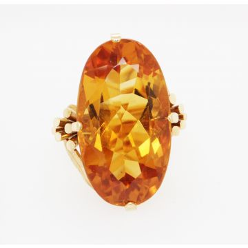 Estate 18K Yellow Gold 20.0ct Oval Citrine Ring