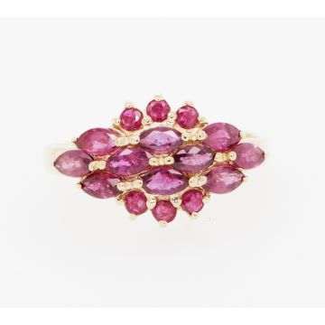 Estate 14K Yellow Gold Round/Marquise Ruby Cluster Ring