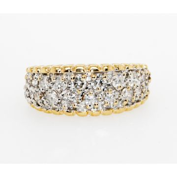 Estate 14K Yellow and White Gold Tapered Diamond Band