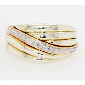 Estate 14K Yellow Gold Ribbed Domed Diamond Ring