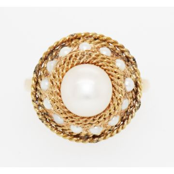 Estate 14K Yellow Gold Cultured Pearl Ring