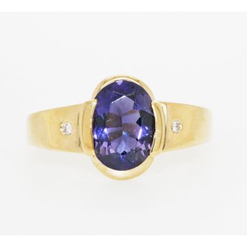 Estate 14K Yellow Gold Oval Amethyst Flush Set Diamond Ring