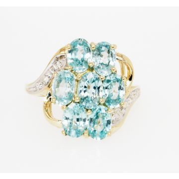 Estate 14K Yellow Gold Blue Zircon Cluster and Diamond Bypass Ring