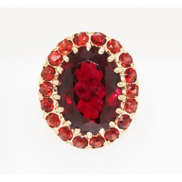 Estate 14K Yellow Gold Synthetic Red Ruby and Garnet Halo Ring