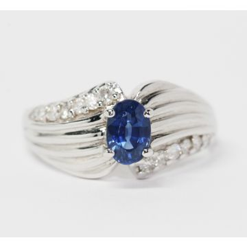 Estate 14K White Gold Oval Blue Sapphire and Diamond Ring